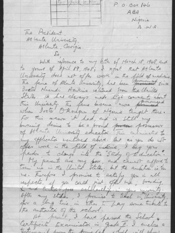 Correspondence from Uzoma Usoh of Nigeria, August 4, 1948, Rufus E. Clement records