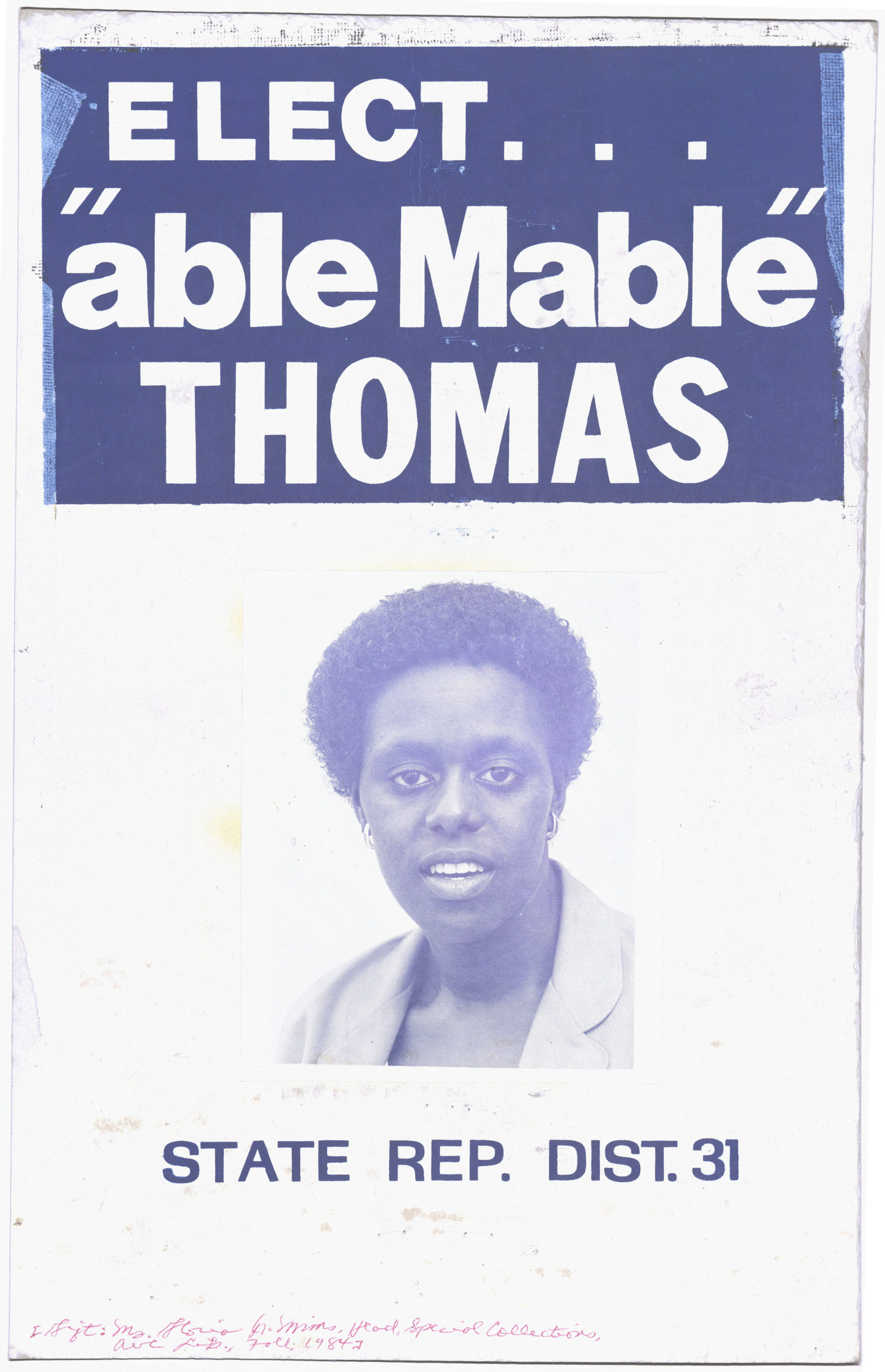 """Elect """"Able Mable"""" Thomas, circa 1984Political Posters Collection"""