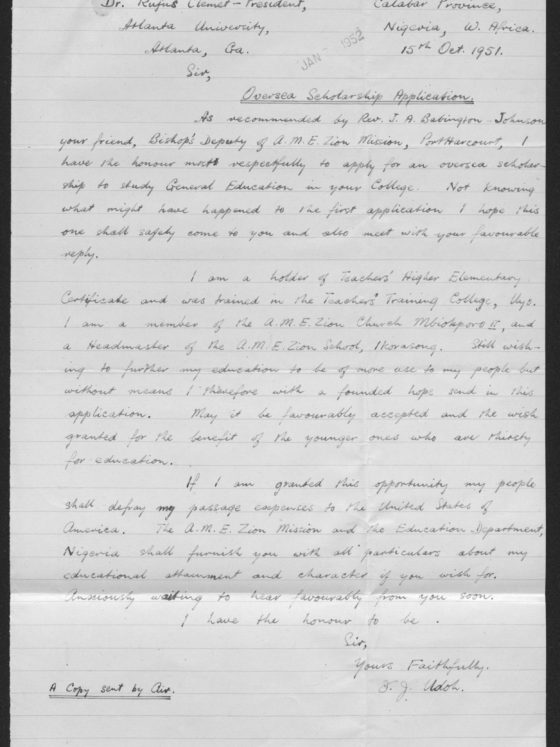 Correspondence from David Udoh of Nigeria, October 15, 1951, Rufus E. Clement records