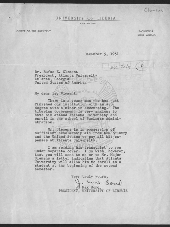Correspondence from the University of Liberia, December 5, 1951, Rufus E. Clement records