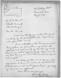 Letter to Dr. R.E. Clement from Daisy Anita Adams