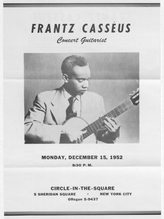 Program sent with correspondence by Haitian guitarist Frantz Casseus, seeking to study music in Atlanta, March 20, 1952, Rufus E. Clement records