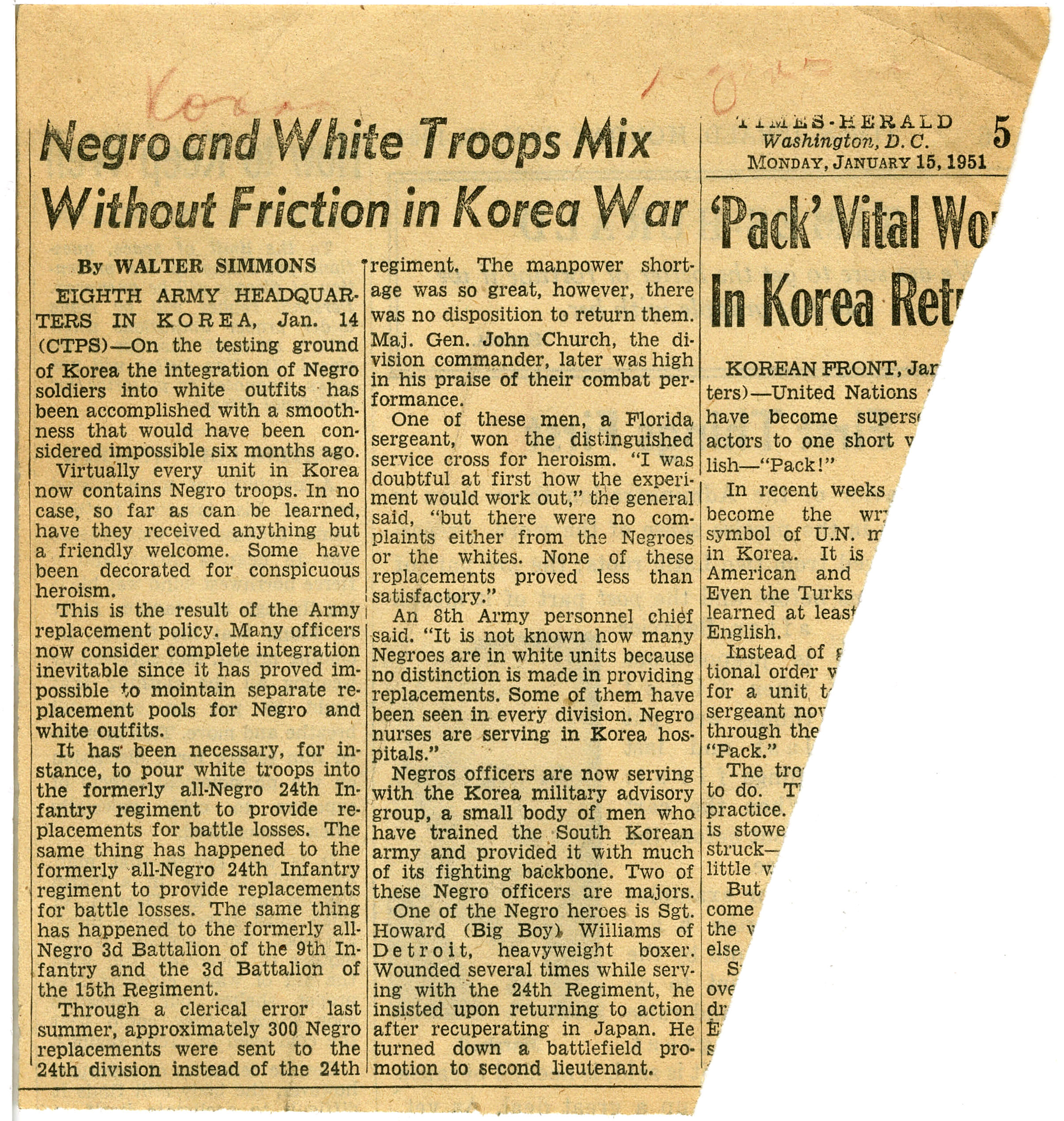 """Negro and White Troops Mix Without Friction in Korea War"", Walter Simmons, 1951 January 15, Johnson Publishing Company clipping files collection, 1940-2020"