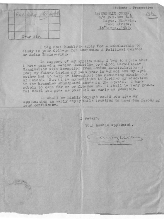 Correspondence from Akinbwaze Coker of Nigeria, September 20, 1948, Rufus E. Clement records