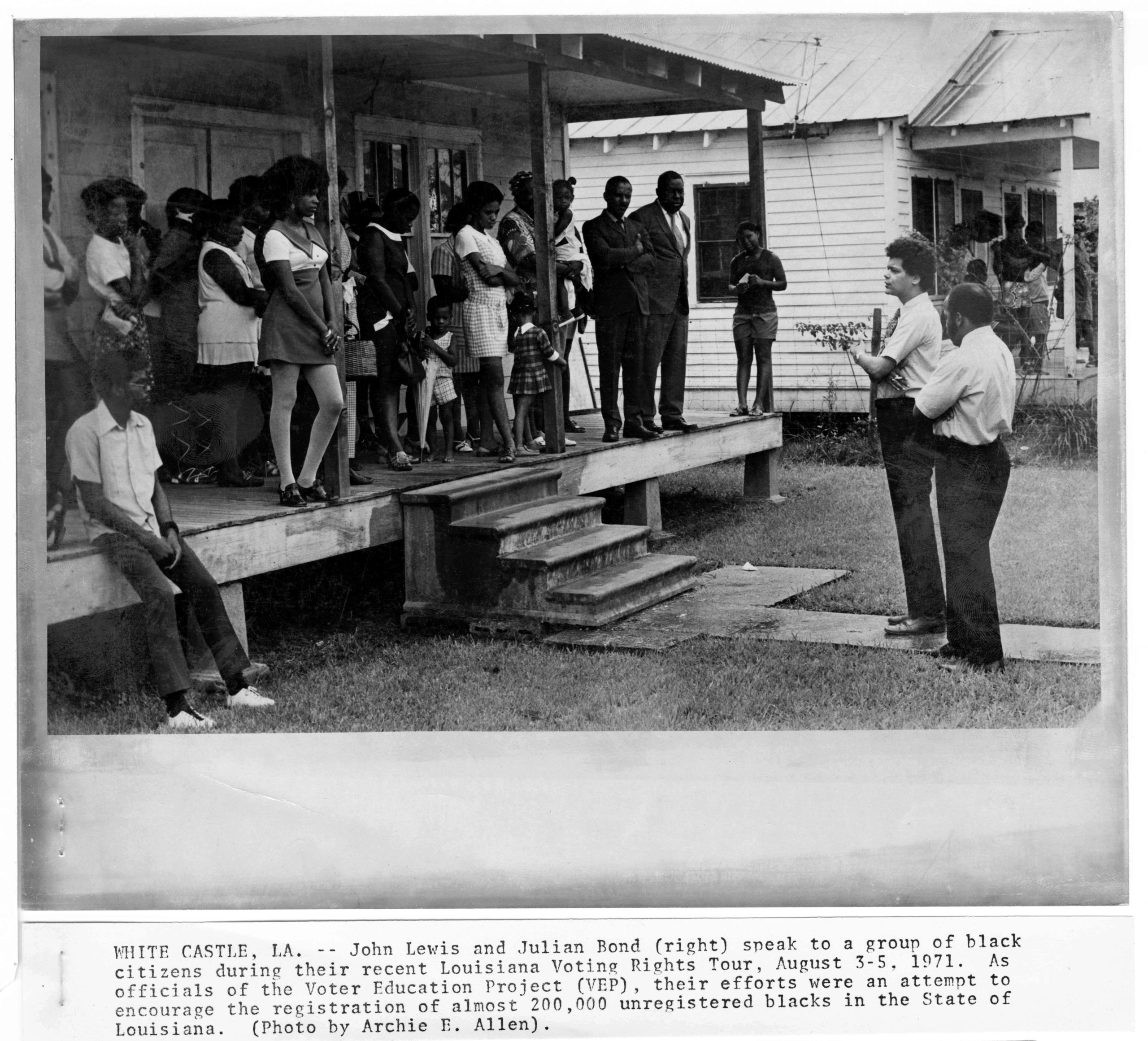 John Lewis and Julian Bond speak to group about voting rights,August, 1971, Allen, Archie E.