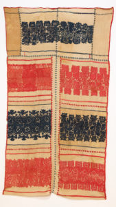 Embroidered cloth curtain: blue, green, and red on beige, Artist Unknown, n.d.