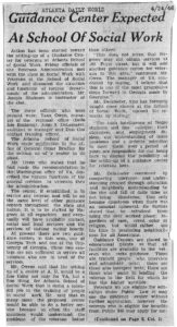 Guidance Center Expected At School Of Social Work, Atlanta Daily World1946 April 24Rufus E. Clement Records