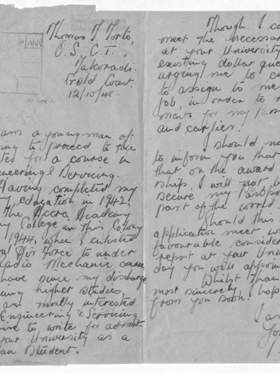 Correspondence from Thomas Torto of Gold Coast (now Ghana), October 12, 1948, Rufus E. Clement records