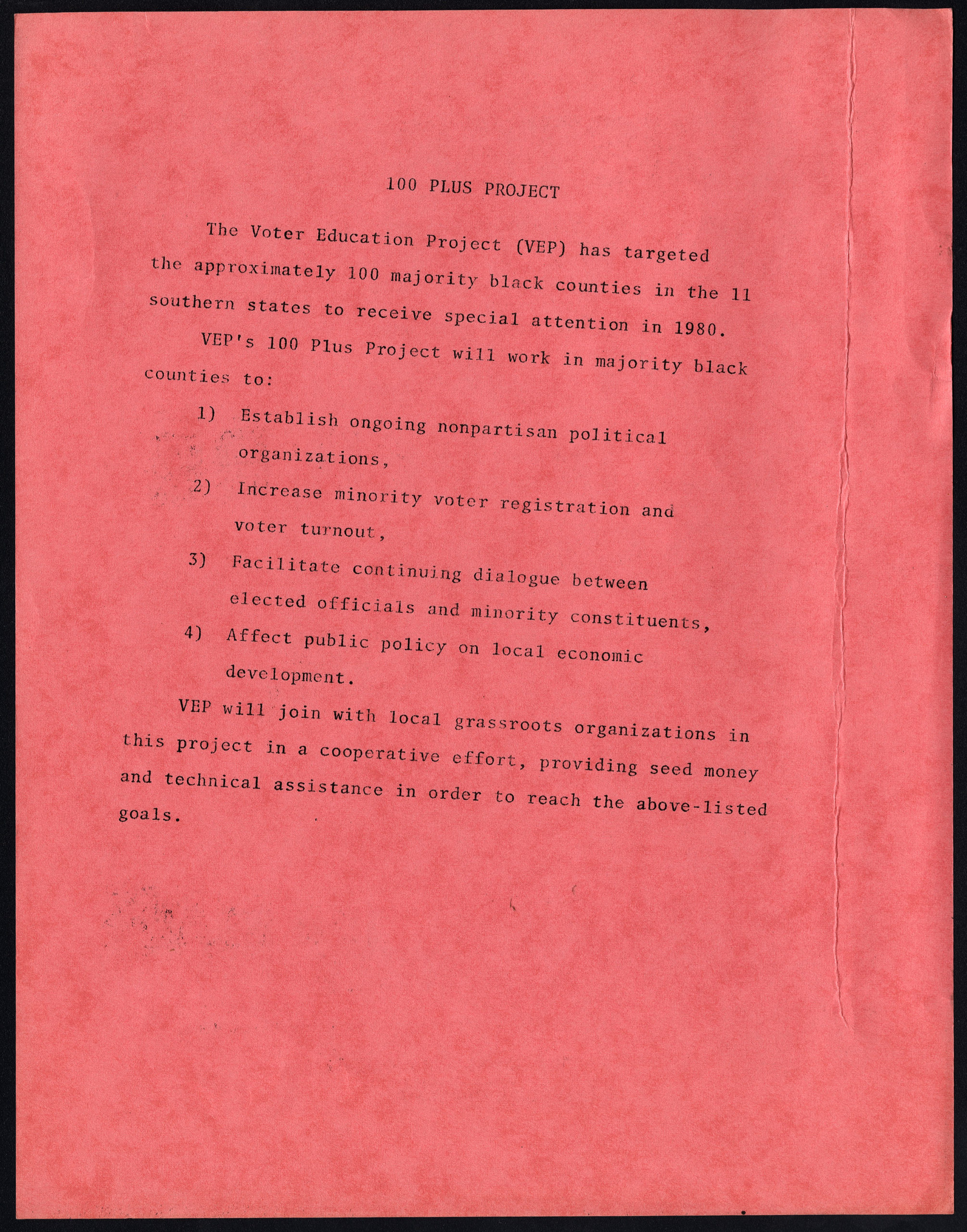 100 Plus Project flyer,Voter Education Project (Southern Regional Council),circa 1980,Voter Education Project organizational records