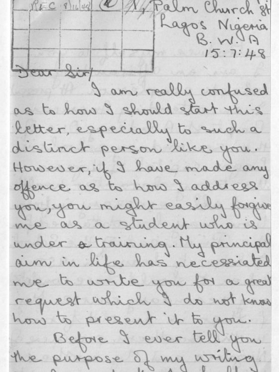 Correspondence from Christopher Fadipe of Nigeria, August 14, 1948, Rufus E. Clement records