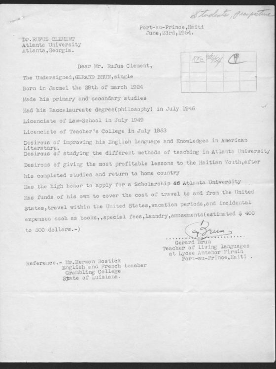 Correspondence from Gerard Brun of Haiti, June 26, 1954, Rufus E. Clement records
