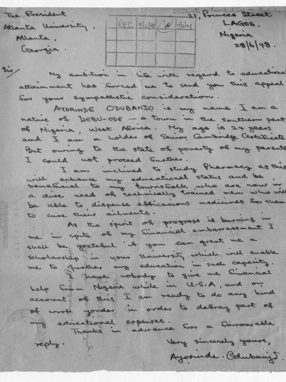 Correspondence from Ayorinde Odubanjo of Nigeria, July 6, 1948, Rufus E. Clement records