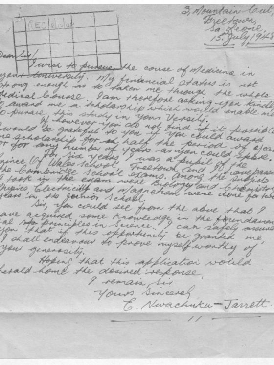 Correspondence from E. Nwachuku-Jarret of Sierra Leone, July 15, 1948, Rufus E. Clement records