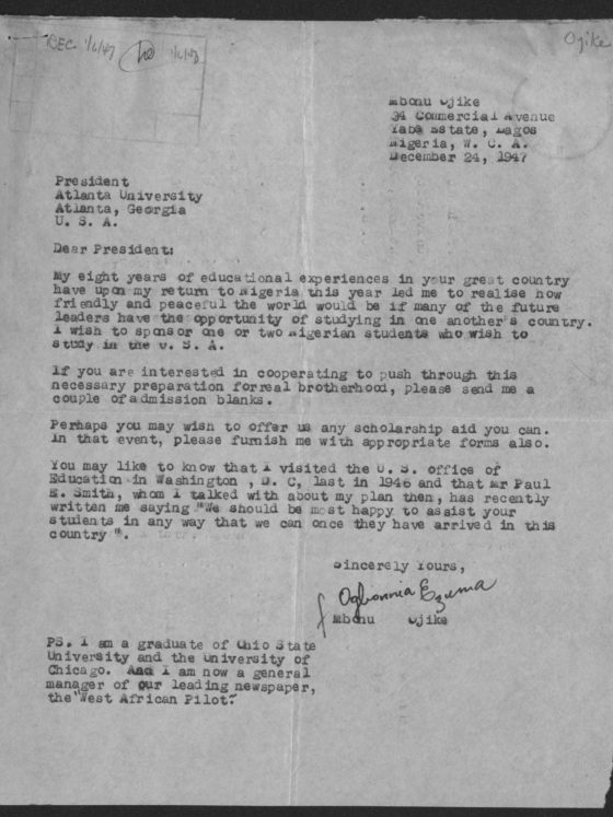 Correspondence from Mbonu Ojike of Nigeria, December 24, 1947, Rufus E. Clement records