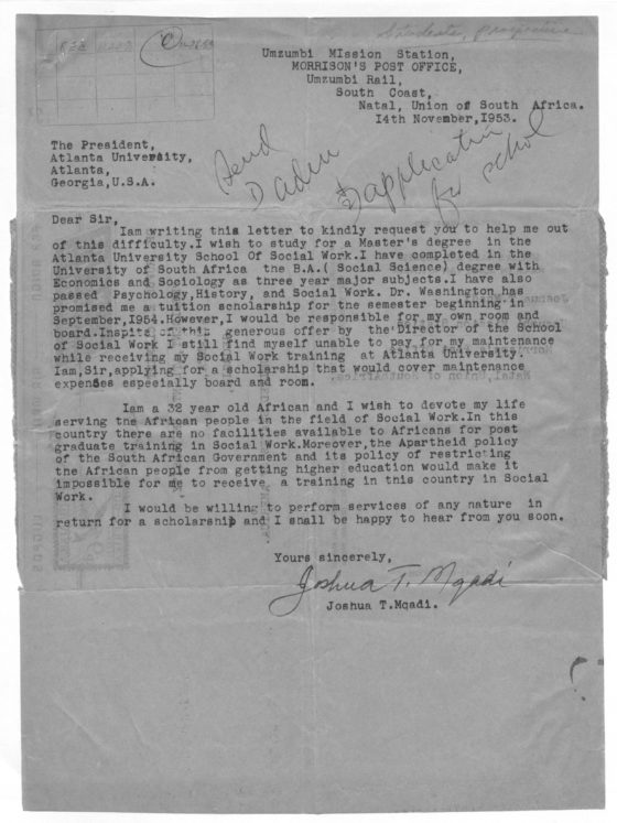 Correspondence from Joshua Mqadi of South Africa, November 28, 1953, Rufus E. Clement records