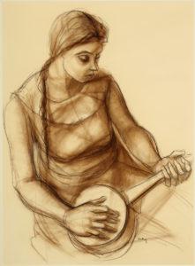 "Lady with a Banjo, Bailey,  Herman ""Kofi, ca. 1960, Nancy A. Hodgson"
