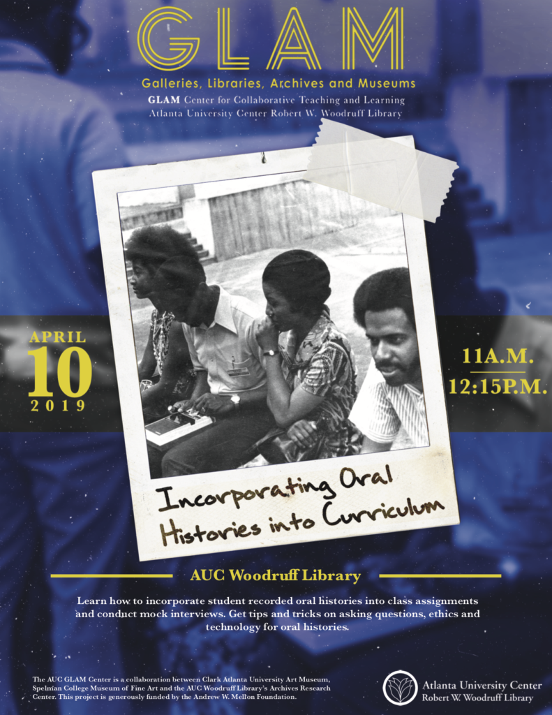 Incorporating Oral Histories into Curriculum flyer