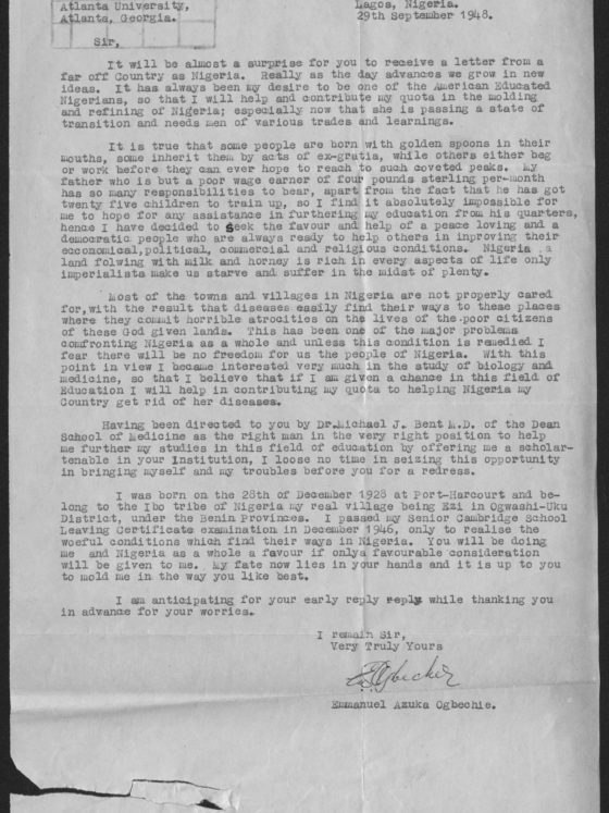Correspondence from Emmanuel Azuka Ogbechie of Nigeria, September 29, 1948, Rufus E. Clement records