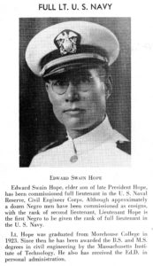 Photograph of Lt. Edward Swain Hope of US Navy, The Maroon Tiger, Volume 4, No. 1, Morehouse College (Atlanta, Ga.), 1944, Morehouse College printed and published materials