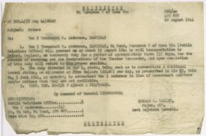 Temporary duty orders for Technician Fifth Grade, Trezzvant W. Anderson, 1944 August 18, Trezzvant W. Anderson papers