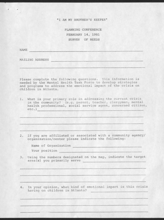 """I Am My Brother's Keeper"" Survey, Saturday, February 14, 1981 Dennard, Cleveland Leon, 1929-1992 1981 February 14 Cleveland L. Dennard records"