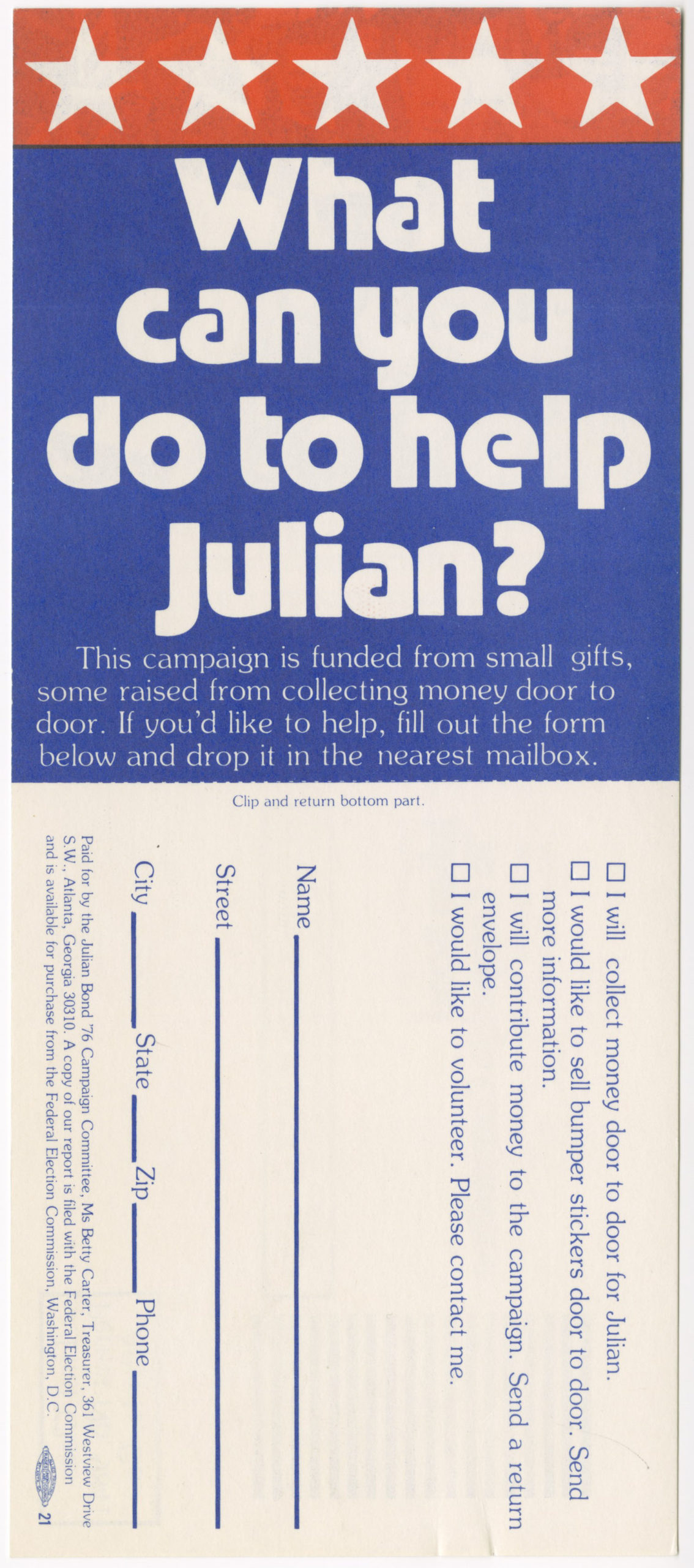 Julian Bond campaign mailer, Julian Bond '76 Campaign Committee1976Clarence Bacote collection