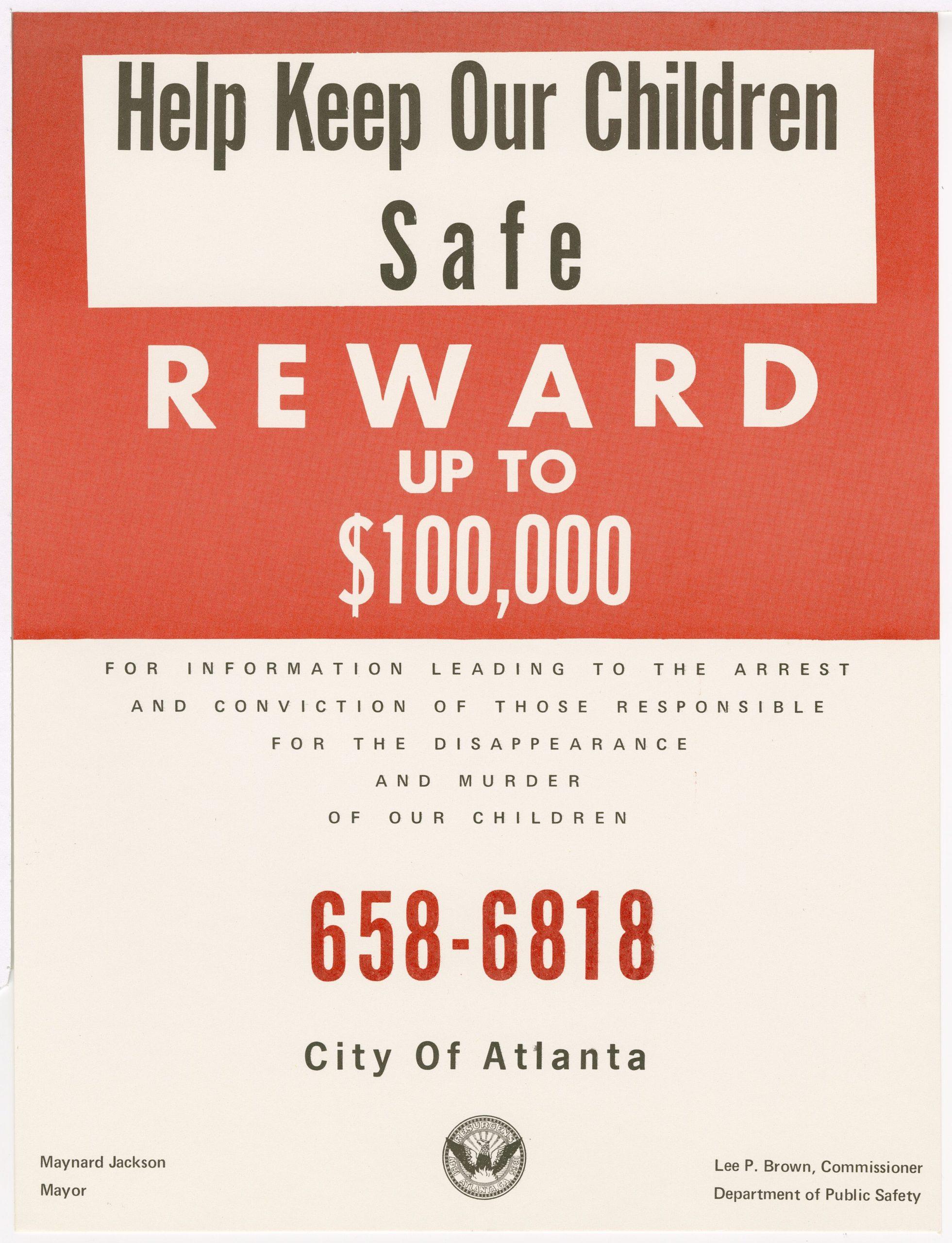 """""""Keep Our Children Safe,"""" circa 1981 Jackson, Maynard, 1938-2003 circa 1981 Maynard Jackson mayoral administrative records"""