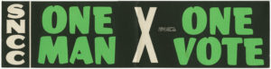 One Man One Vote bumper sticker,Student Nonviolent Coordinating Committee (U.S.),circa 1960,SNCC Vertical File
