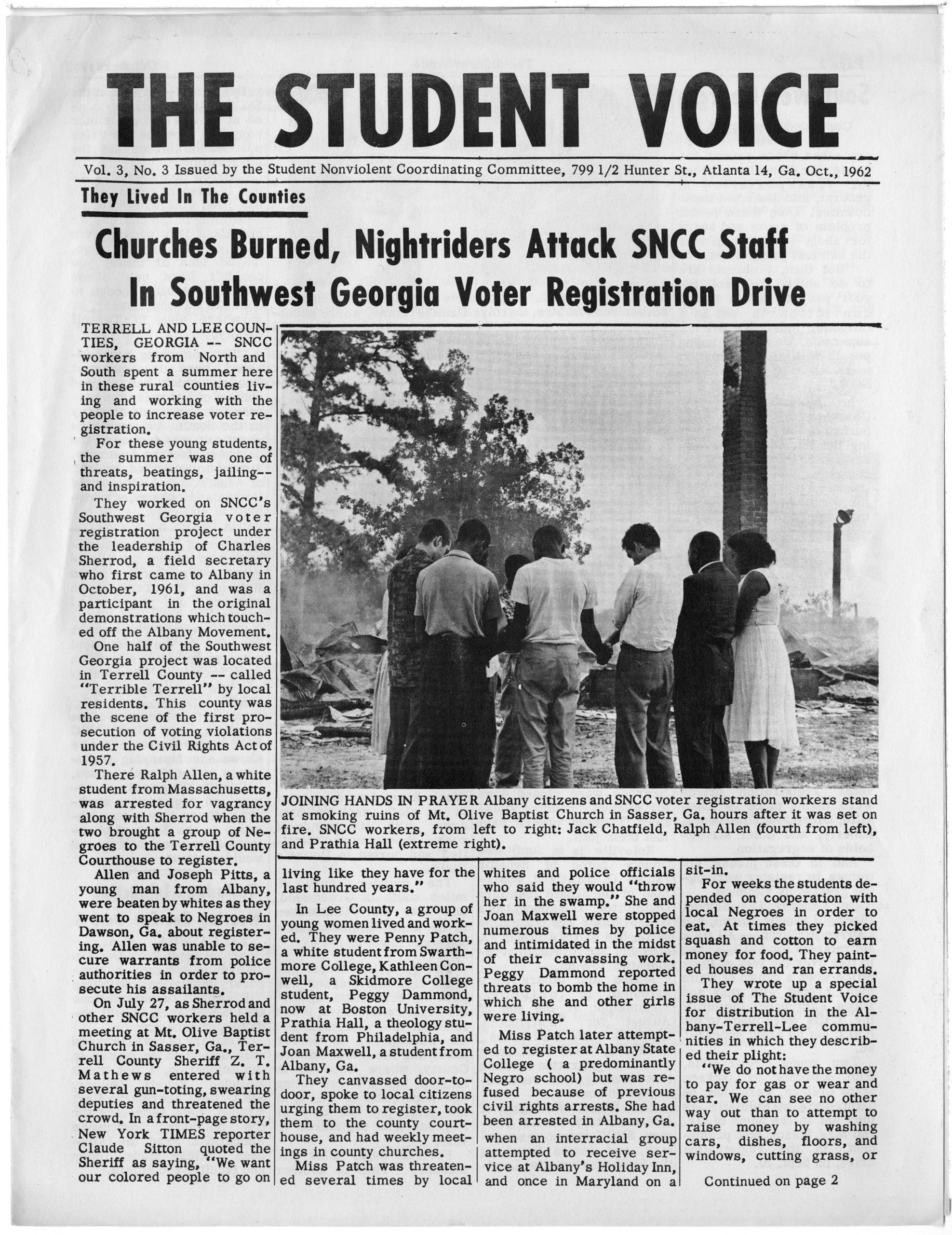 The Student Voice, Student Nonviolent Coordinating Committee (U.S.)1962 OctoberSNCC Vertical File