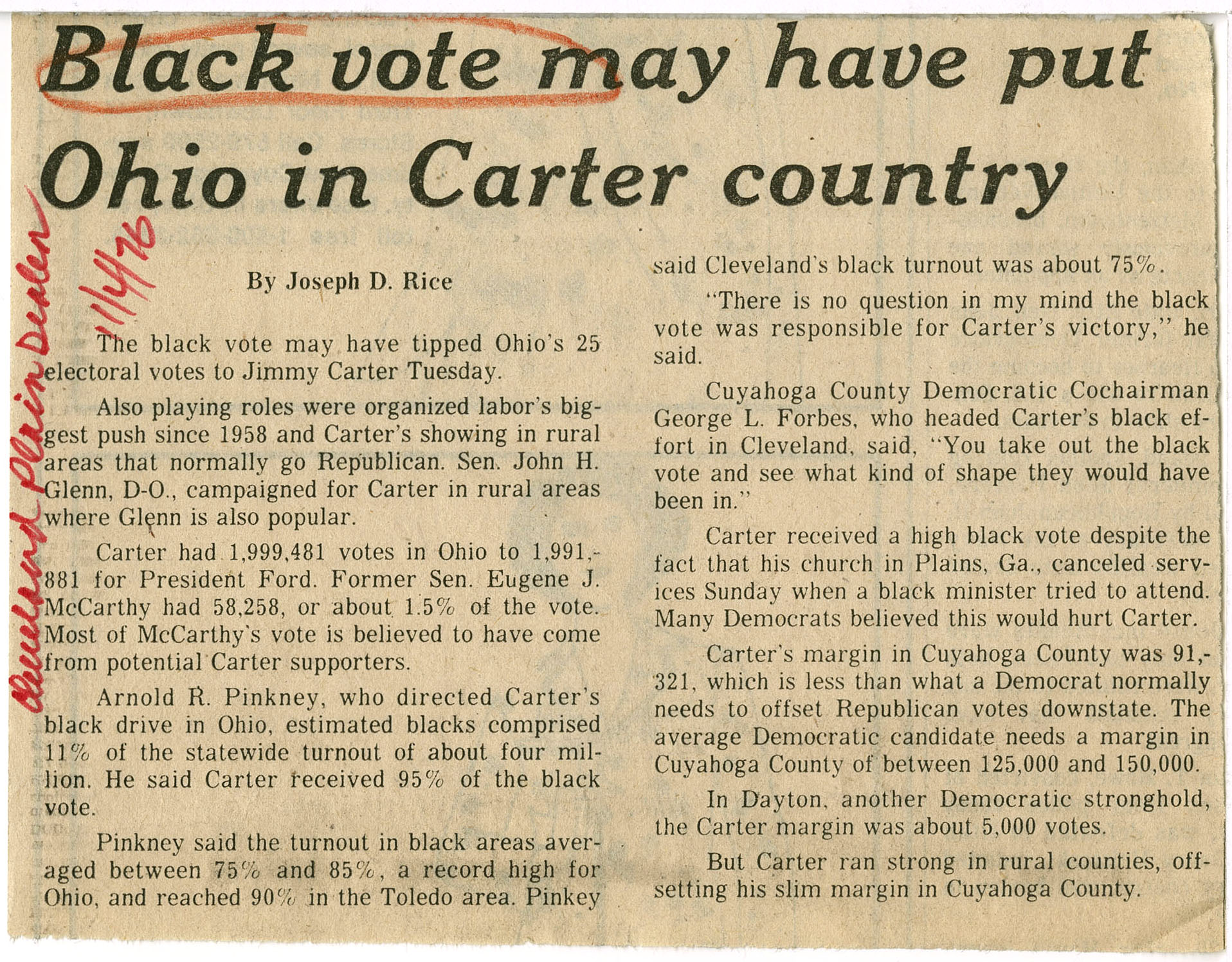 Black vote may have put Ohio in Carter country, Joseph D. Rice; Cleveland Plain Dealer, 1976 November 4, bJohnson Publishing Company Clippings File Collection