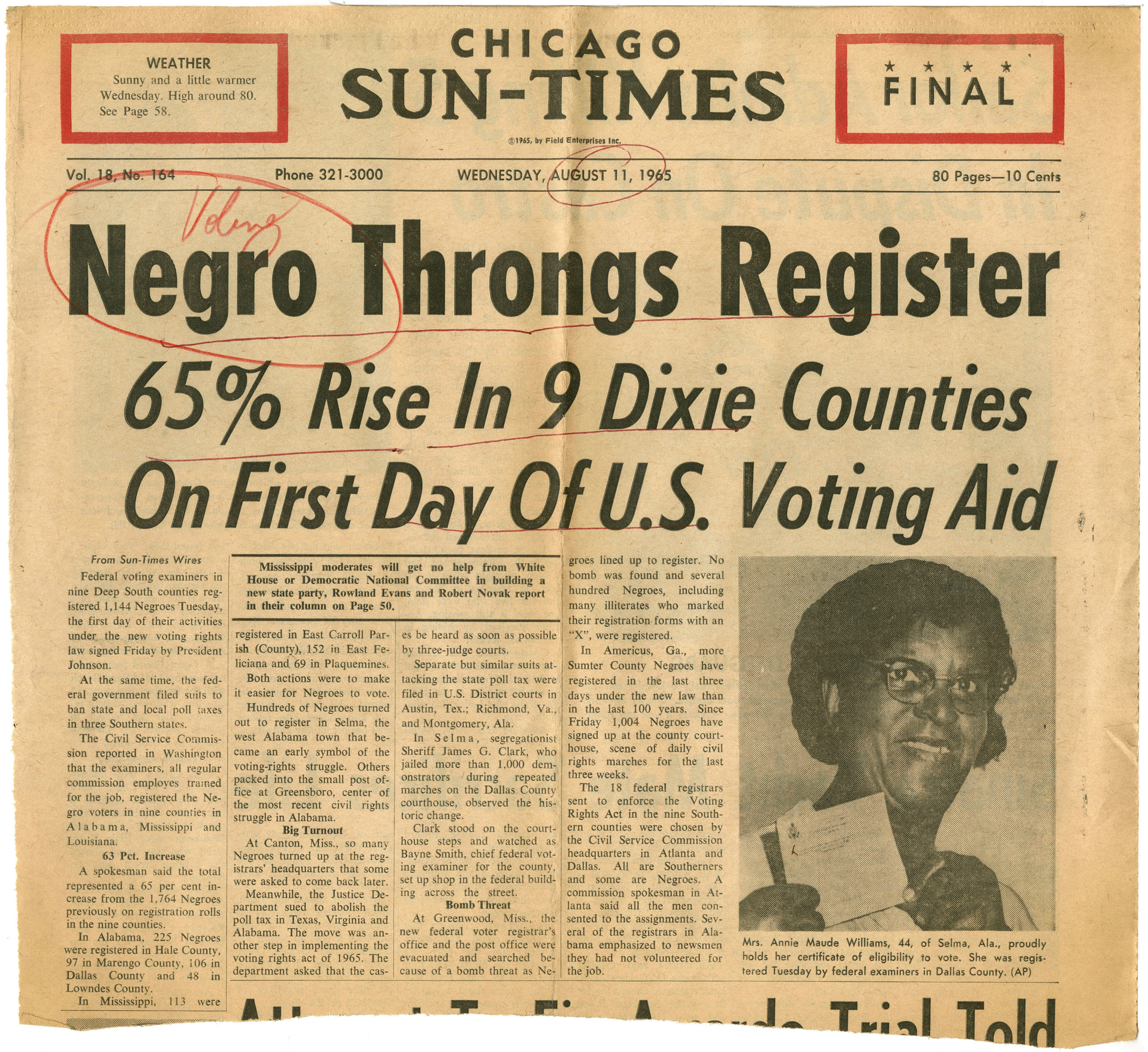 Negro Throngs Register, Chicago Sun-Times1965 August 11Johnson Publishing Company Clippings File Collection