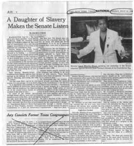 A Daughter of Slavery Makes the Senate Listen, Adam Clymer; New York Times, 1993 July 23, Johnson Publishing Company Clippings File Collection