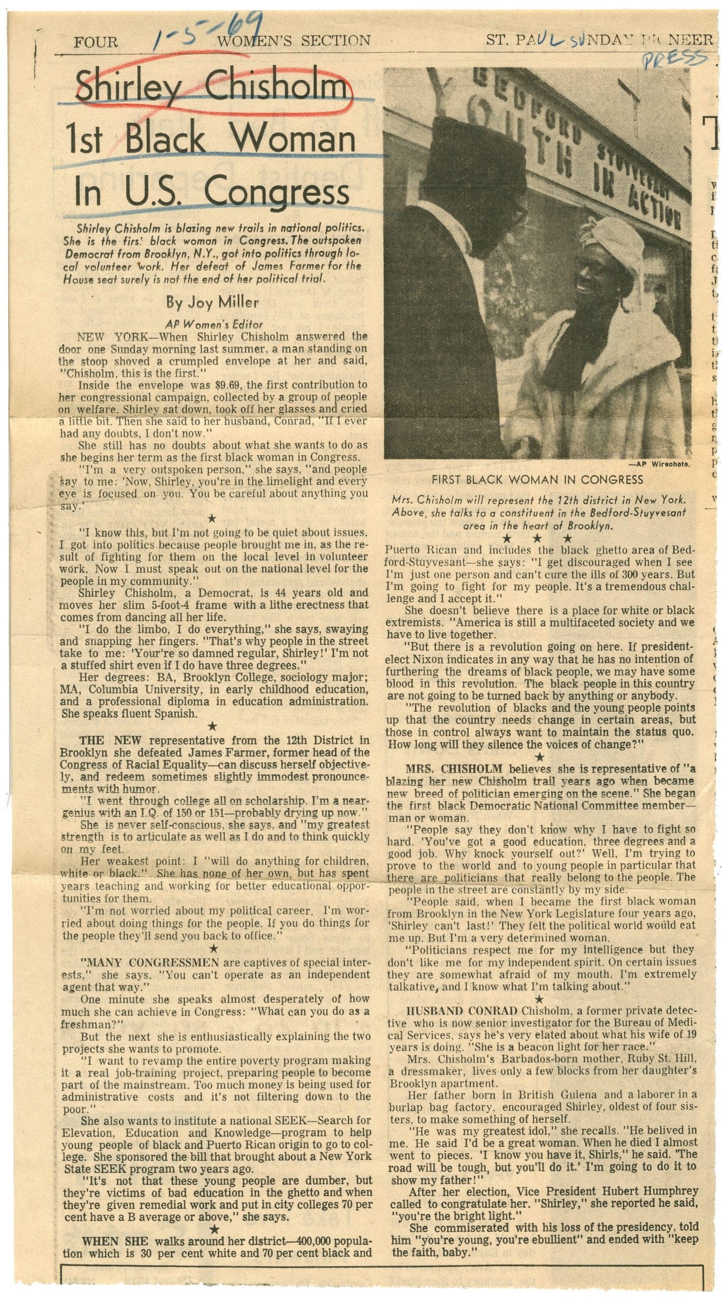Shirley Chisholm 1st Black Woman in U.S. Congress, Joy Miller; St. Paul Sunday Pioneer, 1969 January 5, Johnson Publishing Company Clippings File Collection
