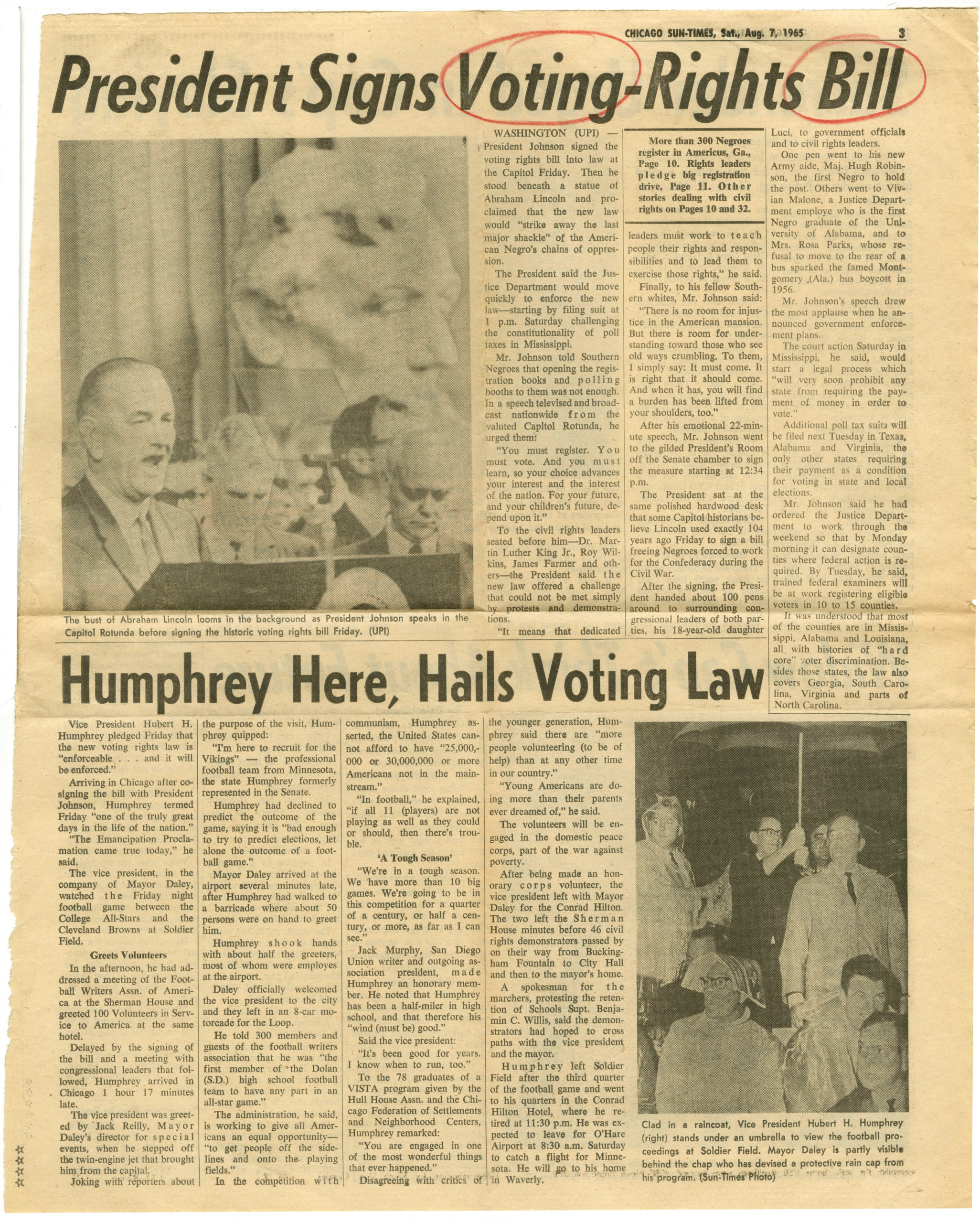 President Signs Voting-Rights Bill, Chicago Sun-Times1965 August 7Johnson Publishing Company Clippings File Collection