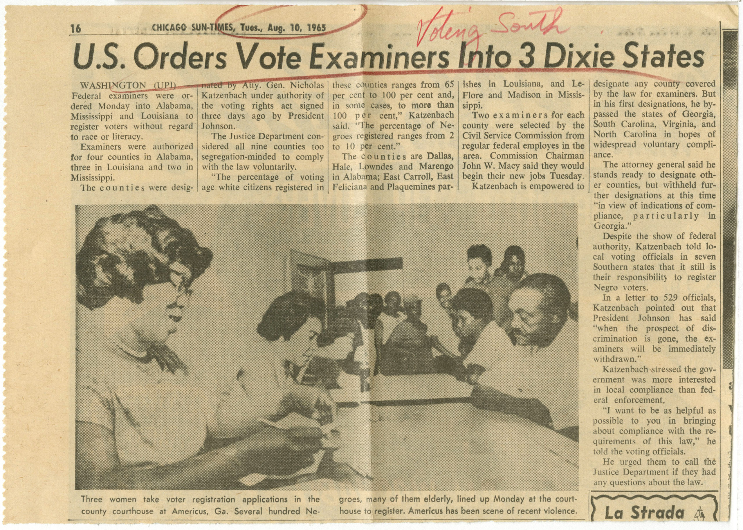 U.S. Orders Vote Examiners Into 3 Dixie States, Chicago Sun-Times1965 August 10Johnson Publishing Company Clippings File Collection