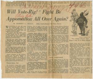 Will Vote-Right Fight Be Appomattox All Over Again, Robert L. Riggs, circa 1965, Johnson Publishing Company Clippings File Collection