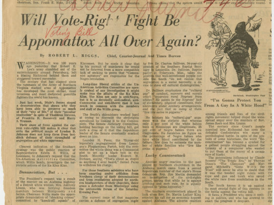 Will Vote-Right Fight Be Appomattox All Over Again, Robert L. Riggs, circa 1965, Johnson Publishing Company Clippings File Collection