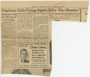 Virginian Calls Voting Rights Bill a 'War Measure', Chicago Tribune1965 March 30Johnson Publishing Company Clippings File Collection