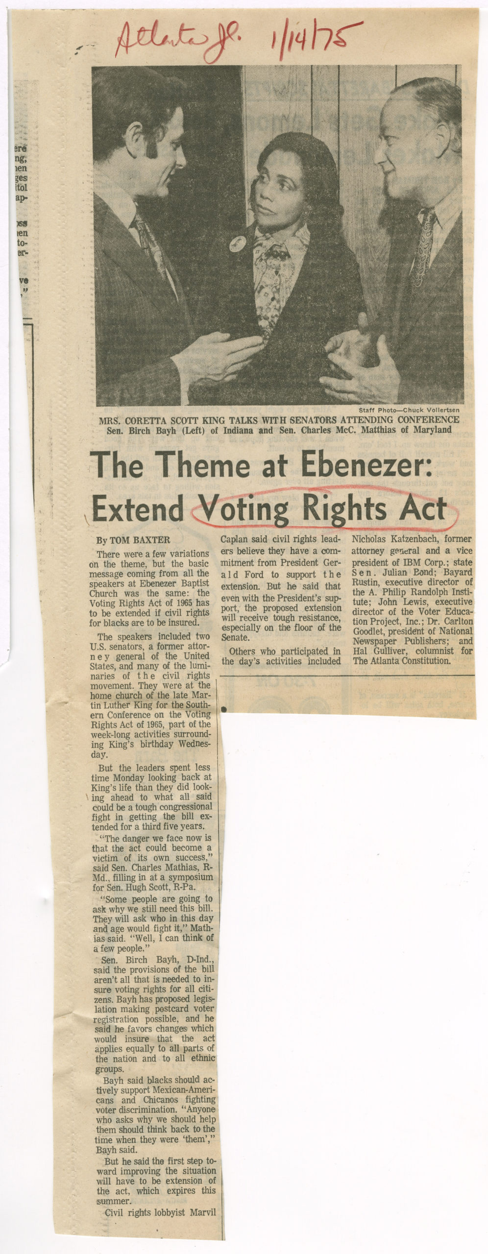The Theme at Ebenezer: Extend Voting Rights Act, The Atlanta Journal1975 January 14Johnson Publishing Company Clippings File Collection