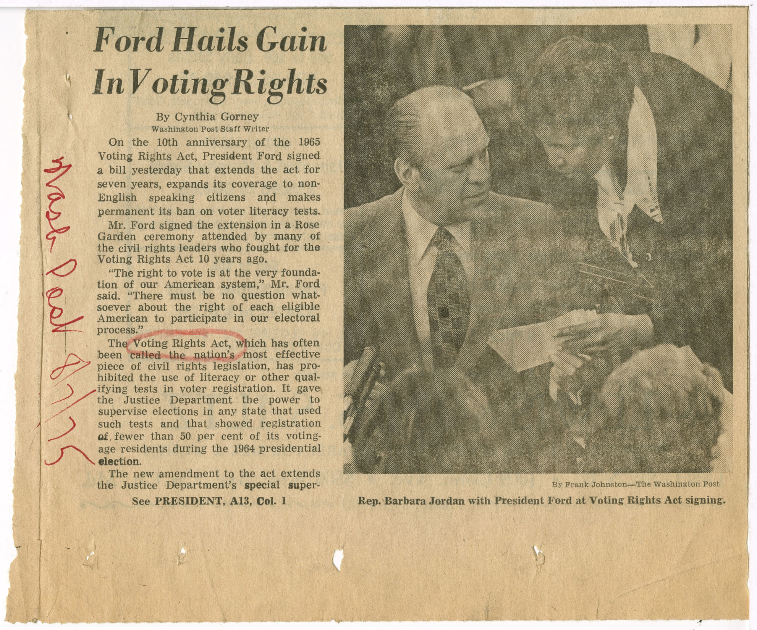 Ford Hails Gain In Voting Rights, Washington Post1975 August 7Johnson Publishing Company Clippings File Collection