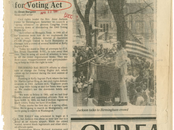 Jesse Jackson launches drive for Voting Act, Birmingham News1981 April 5Johnson Publishing Company Clippings File Collection