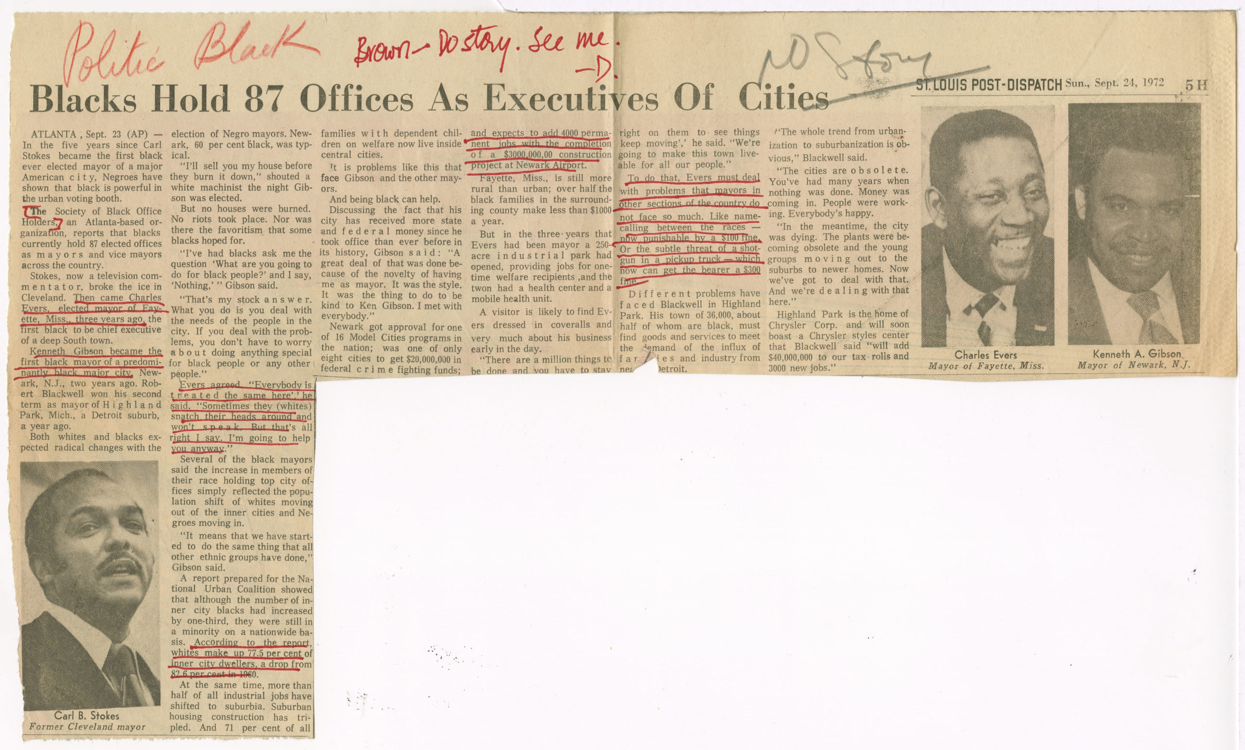 Blacks Hold 87 Offices As Executives of Cities, St. Louis Post-Dispatch1972 September 24Johnson Publishing Company Clippings File Collection