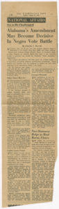 Alabama's Amendment May Become Decisive In Negro Vote Battle,Washington Post,1947 August 24,Johnson Publishing Company Clippings File Collection