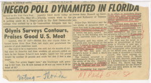 Negro Poll Dynamited in Florida,NY Post,1952 May 27,Johnson Publishing Company Clippings File Collection