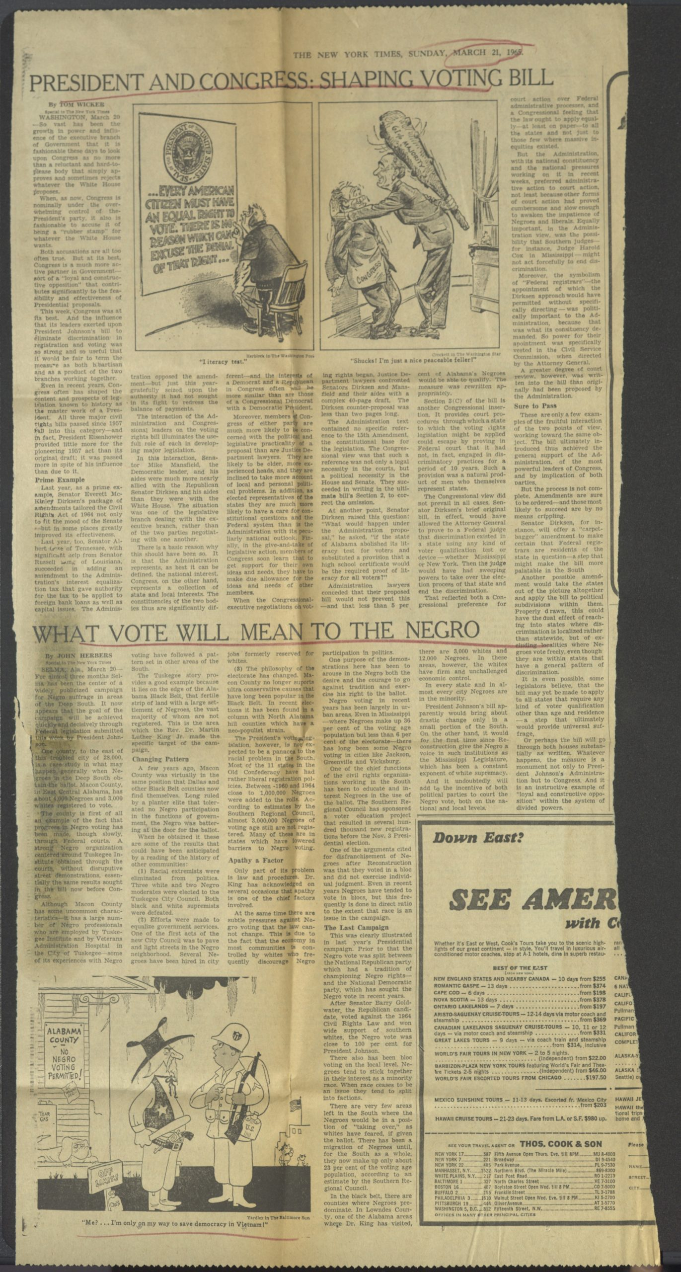 President and Congress: Shaping Voting Bill, The New York Times1965 March 21Johnson Publishing Company Clippings File Collection