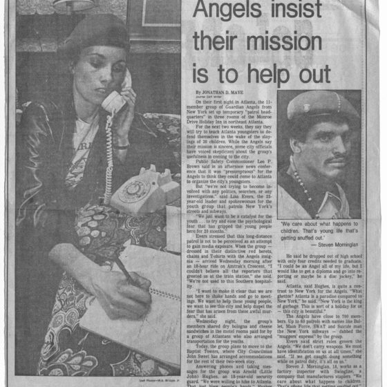 """Angels insist their mission is to help out"" circa 1981, Johnson Publishing Company clipping files collection"