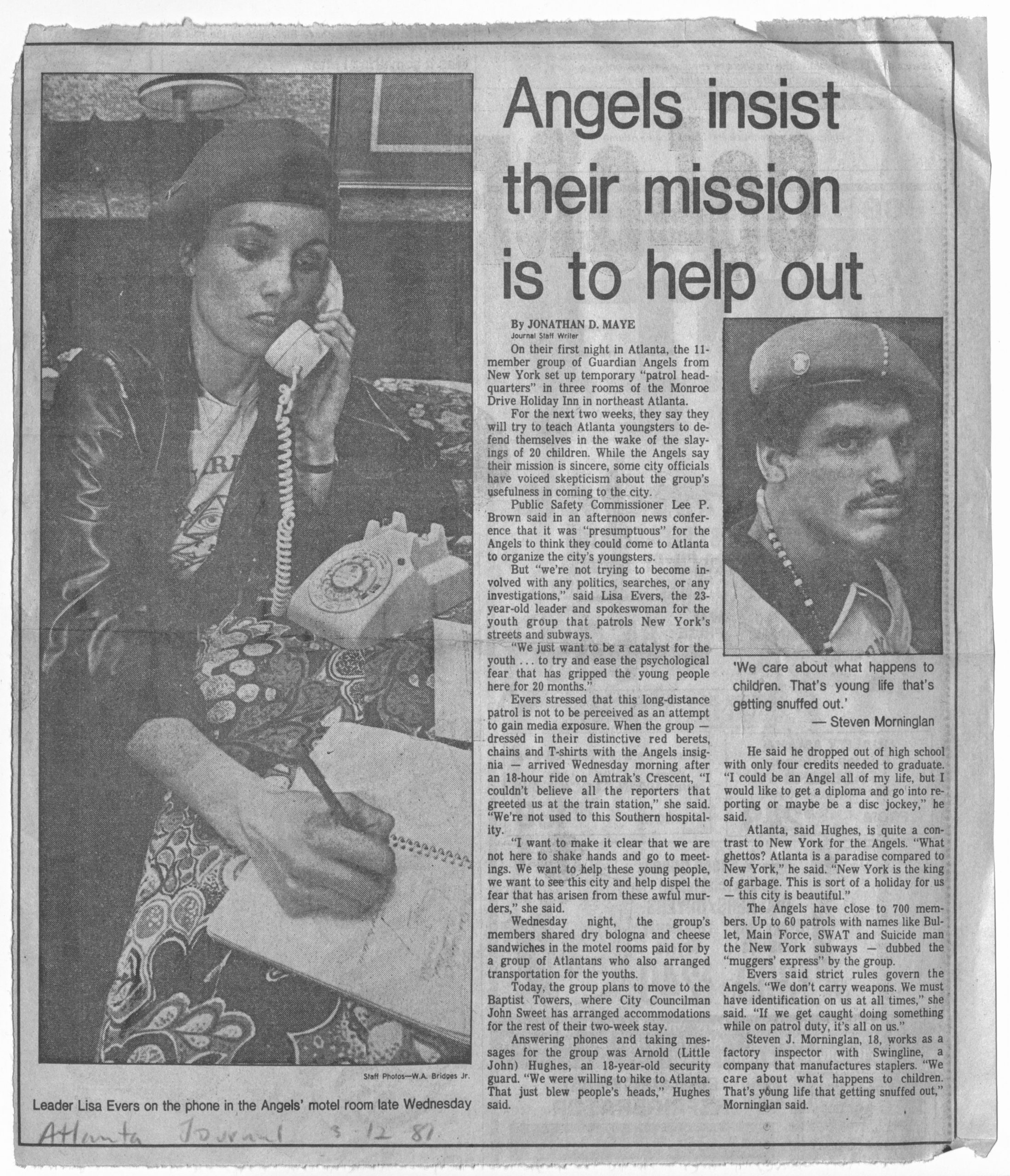 """""""Angels insist their mission is to help out"""" circa 1981, Johnson Publishing Company clipping files collection"""