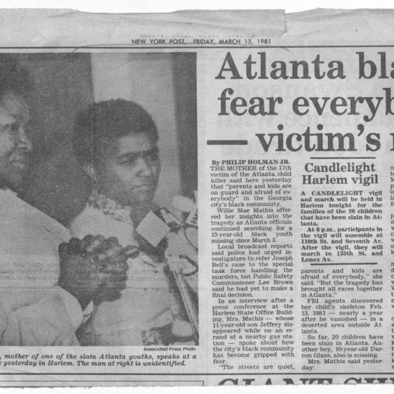 """Atlanta blacks fear everybody - victim's mom,"" March 13, 1981, Johnson Publishing Company clipping files collection"