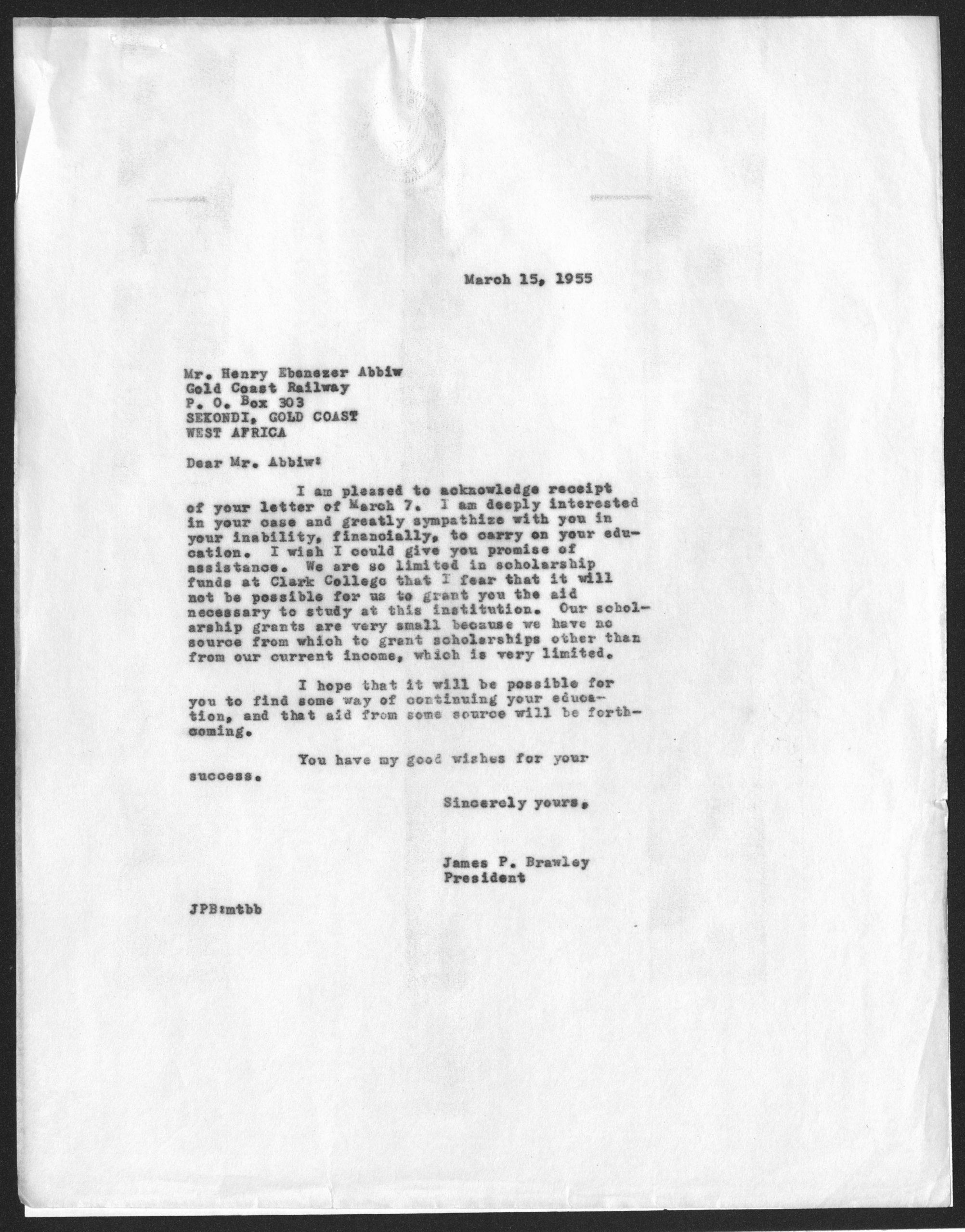 James P. Brawley1955 March 15 O9 James P. Brawley collection