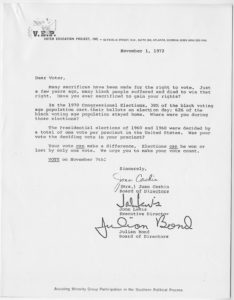 VEP voter correspondence,Voter Education Project, Inc. (Atlanta, Ga.),1972 November 1,John H. Wheeler collection